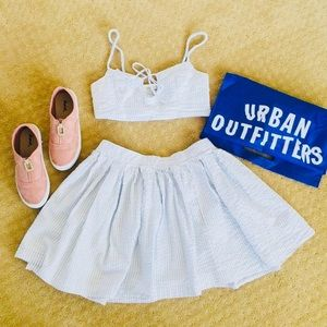 UO Striped Crop Top and Skirt Set